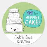 YAY pour le gâteau de mariage !  Personnalisable Adhésifs Ronds