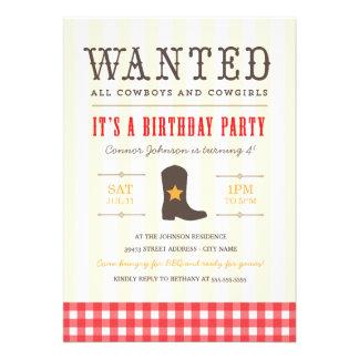 Yeehaw Invitation de fête d anniversaire de cowb