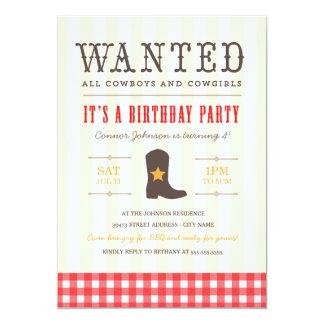 Yeehaw ! Invitation de fête d'anniversaire de Carton D'invitation 12,7 Cm X 17,78 Cm