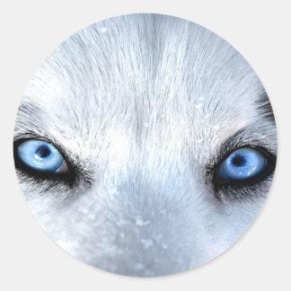 Yeux bleus de chien de traîneau sibérien sticker rond