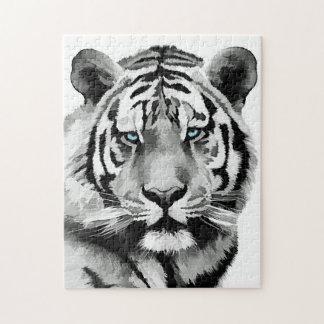Yeux bleus noirs et blancs de tigre puzzle