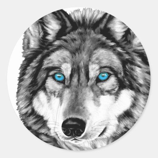 Yeux bleus peints de gamme de gris de loup adhésifs ronds