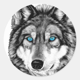 Yeux bleus peints de gamme de gris de loup sticker rond