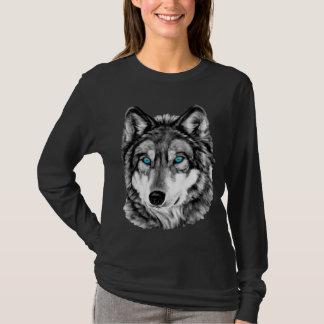 Yeux bleus peints de gamme de gris de loup t-shirt