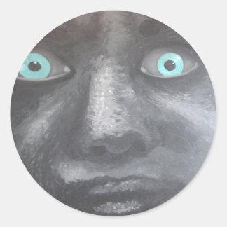 yeux bleus pircing autocollant rond
