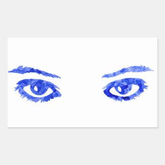 Yeux bleus sticker rectangulaire