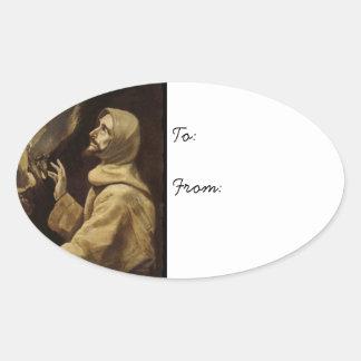 Yeux de Francis de saint vers le ciel Sticker Ovale