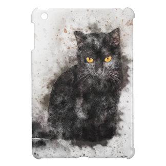 Yeux de jaune de chat noir étuis iPad mini