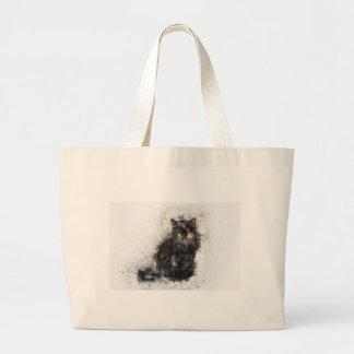 Yeux de jaune de chat noir grand tote bag