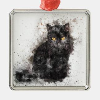 Yeux de jaune de chat noir ornement carré argenté