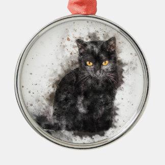Yeux de jaune de chat noir ornement rond argenté