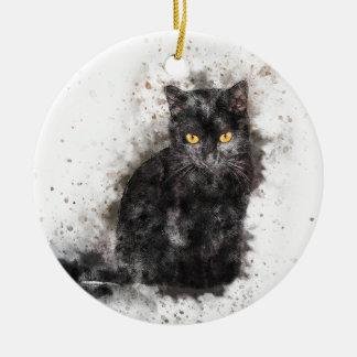 Yeux de jaune de chat noir ornement rond en céramique
