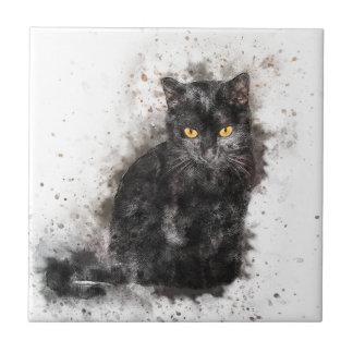 Yeux de jaune de chat noir petit carreau carré