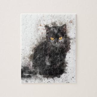 Yeux de jaune de chat noir puzzle