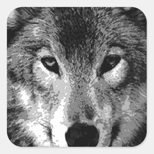 Yeux de loup noir et blanc autocollant carré