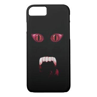 Yeux rouges mauvais de démon et crocs sanglants de coque iPhone 7