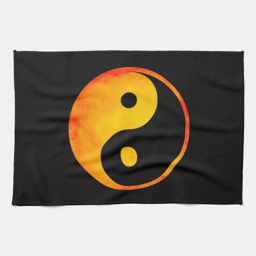 Yin aquarelle orange et jaune de Yang sur le noir Linge De Cuisine