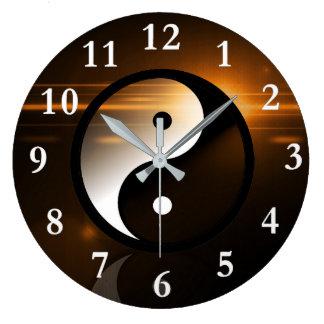 Yin et horloge murale ronde de Yang