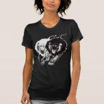 Yin et T-shirt de femmes de lions de Yang