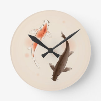 Yin Yang Koi pêche dans la peinture orientale de s Horloge Ronde
