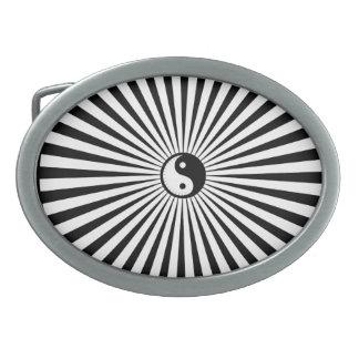 Yin-Yang Sun Roue-Noir/blanc Boucle De Ceinture Ovale