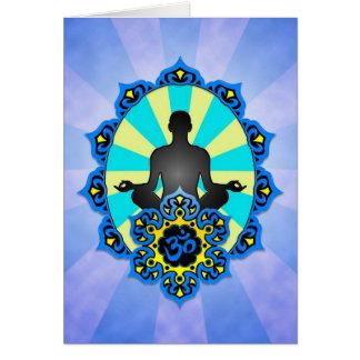 Yoga Aum de méditation, bleu et jaune Carte De Vœux