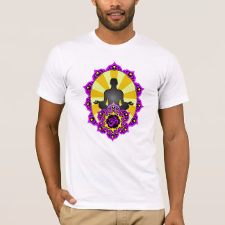 Yoga Aum de méditation, pourpre et jaune T-shirt