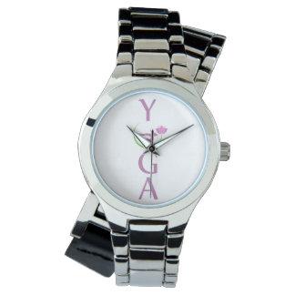 yoga avec un lotus rose montres bracelet