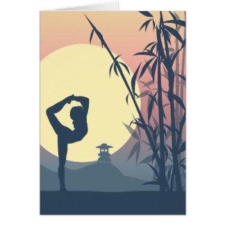 Yoga dans la brume carte de vœux