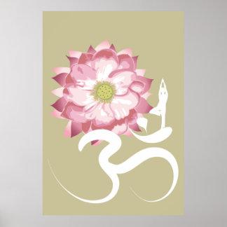 Yoga et affiche blanche rose de chant religieux de posters