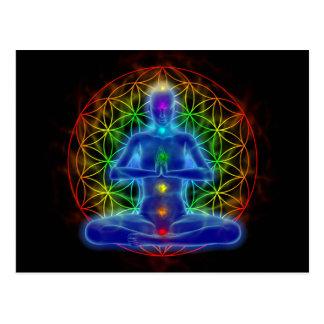 Yoga et méditation - fleur de la vie carte postale