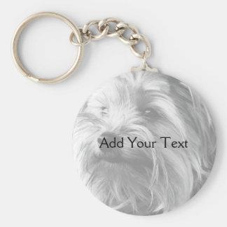 Yorkshire Terrier noir et blanc Yorkie Porte-clé Rond