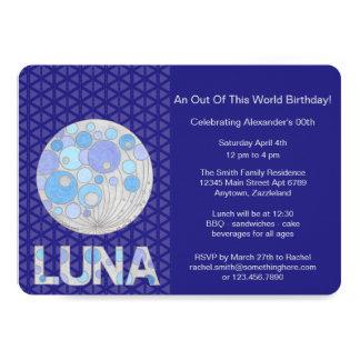 Z Luna de la pleine geek bleu et pourpre lune de Carton D'invitation 12,7 Cm X 17,78 Cm