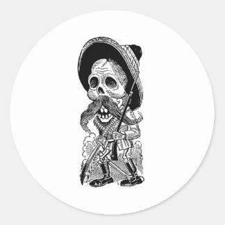 Zapatista Calavera. c. 1900's tôt. Le Mexique Sticker Rond