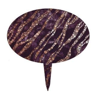 Zèbre abstrait de Bling de lavande Étiquette À Gâteau
