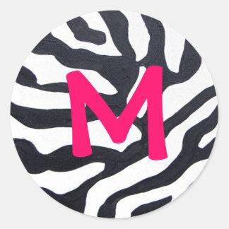 Zèbre avec le monogramme sticker rond