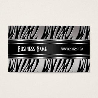 Zèbre blanc noir argenté de carte de visite