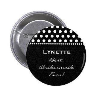 Zèbre blanc noir de demoiselle d'honneur avec le badge rond 5 cm