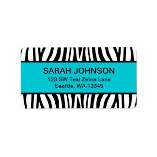 Zèbre bleu et noir turquoise étiquette d'adresse