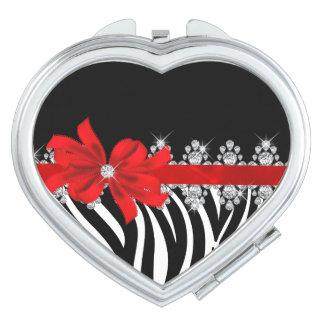 Zèbre de Delilah de diamant (rouge) Miroir De Maquillage
