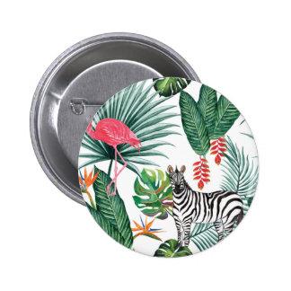 Zèbre et flamant tropicaux d'impression badges