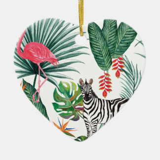 Zèbre et flamant tropicaux d'impression ornement cœur en céramique