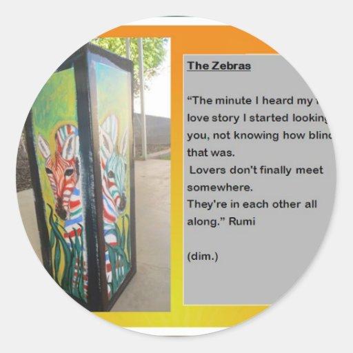 Zebre et Rumi Autocollants Ronds