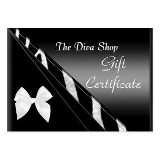 Zèbre noir blanc élégant de carte de certificat-pr carte de visite grand format