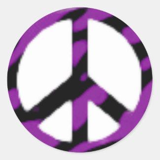 zèbre-paix-signe autocollant rond