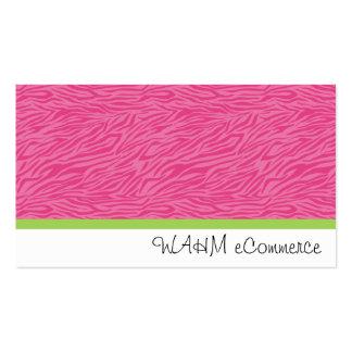 Zèbre rose avec la rayure verte carte de visite standard