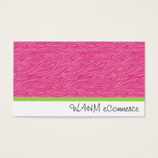 Zèbre rose avec la rayure verte cartes de visite