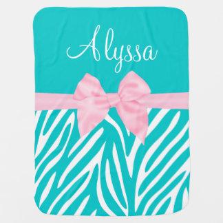 Zèbre rose turquoise d'arc personnalisé couverture de bébé