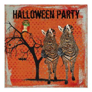 Zèbres ambres et invitation rose de Halloween de