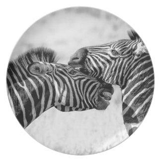 Zèbres en Afrique Assiette